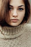 Portrait of cute beautiful young girl with freckles close-up Stock Images