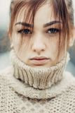 Portrait of cute beautiful young girl with freckles close-up Royalty Free Stock Photography