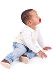 Portrait of a cute black baby boy Stock Photo