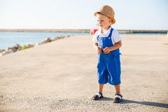 Portrait of a cute blond boy in hat Royalty Free Stock Photography