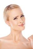 Portrait of cute blond woman Stock Photos
