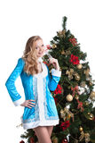 Portrait of cute blonde dressed as Snow Maiden Stock Images