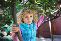 Portrait of cute blonde little girl Stock Images