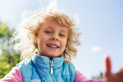 Portrait of cute blonde little girl Stock Photos