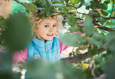 Portrait of cute blonde little girl Stock Photo
