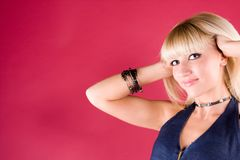 Portrait of a cute blonde in the studio Royalty Free Stock Photo