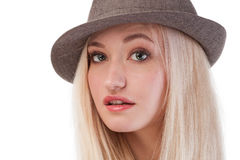 Portrait of cute blonde woman Stock Photos