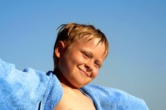 Portrait of cute boy at the beach Stock Photo