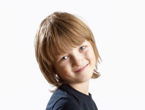 Portrait of a Cute Boy with Blond Hair Stock Image