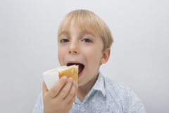 Portrait of cute boy eating cake slice against gray background Stock Photo