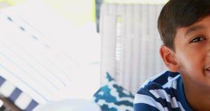 Portrait of cute boy 4k stock video footage
