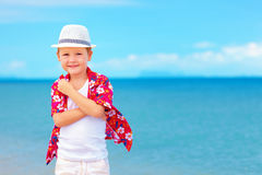 Portrait of cute boy kid on summer vacation Stock Photos