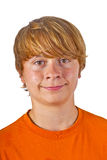 Portrait of cute boy with orange Royalty Free Stock Image