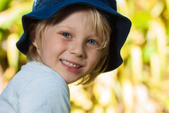 Portrait of cute boy outdoors stock photos