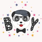 Portrait Cute boy panda in cap. Greeting card. Portrait Cute boy panda in cap. Picture for t-shirt graphics for kids and other uses. Greeting card Royalty Free Stock Images