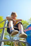 Portrait cute boy on the playground Royalty Free Stock Images