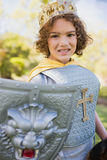 Portrait of cute boy pretending to be a knight Royalty Free Stock Images