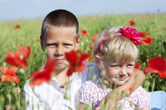 Portrait of cute brother and sister in poppy field. Portrait of cute brother and sister l in poppy field during hot summer day Stock Images