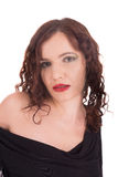 Portrait cute brunette. Fashion portrait pretty brunette isolated on white Royalty Free Stock Image