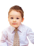 Portrait of cute business child. three years old boy. On white stock photography