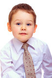 Portrait of cute businesslike baby boy. On white Stock Photo