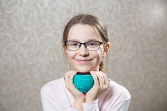 Portrait of cute caucasian girl weared eyeglasses Royalty Free Stock Photography
