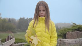 Portrait of a cute Caucasian girl in yellow coat standing in the autumn park. Pretty child with a bunch of yellow leaves stock video footage
