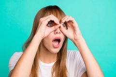 Portrait of cute charming teen teenager impressed astonished by incredible news novelty information stare open mouth. Wonder scream wear trendy stylish modern t royalty free stock image