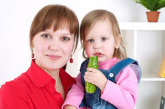 Portrait Cute cheerful child with mother Royalty Free Stock Image