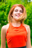Portrait of a cute cheerful girl Stock Images
