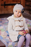 Portrait of cute child girl at country house Stock Photos