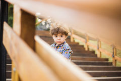 Portrait of cute child sitting on wood stairs Stock Images