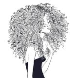 Cute curly girl. Portrait of cute curly girl. vector illustration Stock Photos