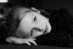 Portrait of a cute dreamy young girl Stock Photography