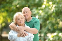 Portrait of cute elderly couple royalty free stock photo