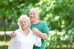 Portrait of cute elderly couple royalty free stock photography