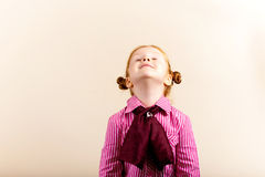 Portrait of cute elegant redhead girl looking up c Royalty Free Stock Photos