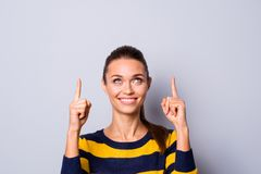 Portrait of cute excited charming nice lady youth feel positive cheerful advertise choose decide option promo feedback. Recommend toothy content isolated wear stock photography