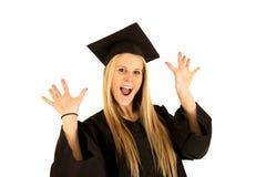 Portrait of cute female caucasian model graduate c Stock Photo