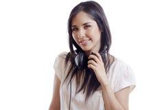 Portrait of a cute female DJ Stock Images