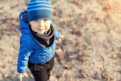 Portrait of cute funny caucasian toddler boy in blue jacket and hat enjoying walking at autumn park or forest during sunset with stock image