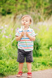 Portrait of a cute funny little boy toddler standing in the forest field meadow with dandelion flowers in hands. And blowing them on a bright summer day, summer Royalty Free Stock Photos