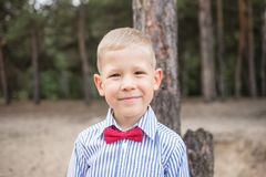 Portrait of cute funny little caucasian boy royalty free stock photography