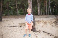Portrait of cute funny little caucasian boy stock image