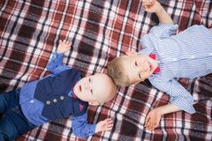 Portrait of cute funny little caucasian brothers stock photography