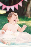 Portrait of cute funny upset sad crying Caucasian baby girl in pink tutu dress celebrating her first birthday. With gourmet cake outside in park, cake smash Royalty Free Stock Photos
