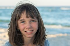 Portrait of a cute gentle little beautiful girl royalty free stock images