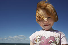Portrait Of Cute Ginger Haired Girl Stock Photos