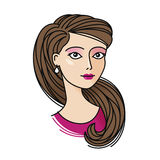 Portrait of cute girl. Beautiful young woman icon or symbol. Cartoon vector illustration Royalty Free Stock Photography