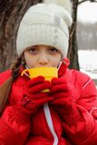Portrait of a cute girl in a cap and jacket and a cup of tea Stock Image